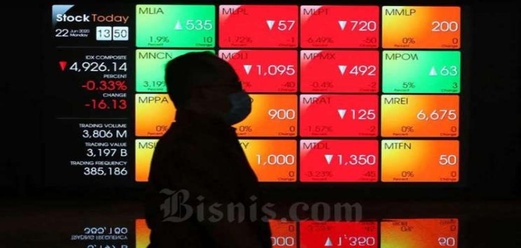 Pengunjung melintas di dekat papan layar elektronik yang menampilkan pergerakan Indeks Harga Saham Gabungan (IHSG) di Bursa Efek Indonesia (BEI), Jakarta, Senin (22/6 - 2020). Bisnis / Eusebio Chrysnamurti