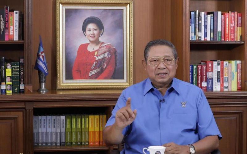 Ketua Majelis Tinggi Partai Demokrat Susilo Bambang Yudhoyono (SBY) menyampaikan arahan kepada para pemimpin dan kader Partai Demokrat, Rabu, 24 Februari 2021 / Youtube Partai Demokrat