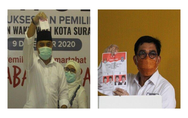 Calon Wali Kota Surabaya nomor urut 1 Eri Cahyadi (kiri) dan nomor urut 2 Machfud Arifin (kanan)  -  Antara
