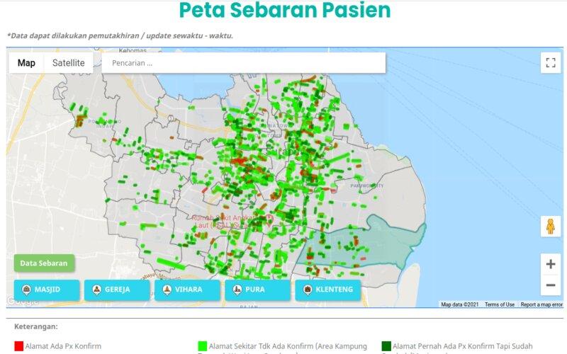 Peta sebaran Covid-19 di Surabaya dari website Pemkot Surabaya diakses, Selasa (2/3/2021). - Pemkot Surabaya