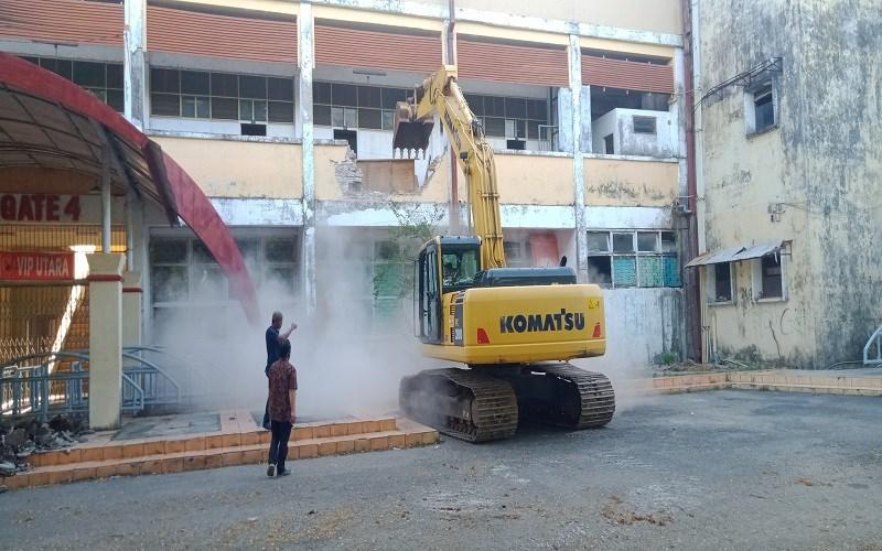 Stadion Andi Matalatta Mattoanging mulai memasuki tahap renovasi, Rabu (21/10/2020) - Wahyu Susanto
