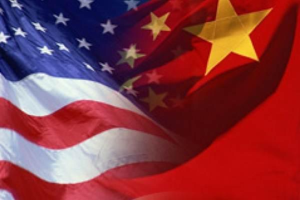 Ilustrasi Bendera AS dan China - newline