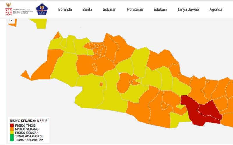 Peta zona risiko Covid/19 per 28 Februari.