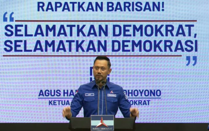 Ketua Umum Partai Demokrat Agus Harimurti Yudhoyono (AHY) menggelar konferensi pers menanggapi Kongres Luar Biasa (KLB) di Deli Serdang, Sumatra Utara, Jumat (5/3/2021) yang mengankat Kepala Staf Presiden (KSP) Moeldoko sebagai Ketua Umum Partai Demokrat - YouTube/Agus Yudhoyono