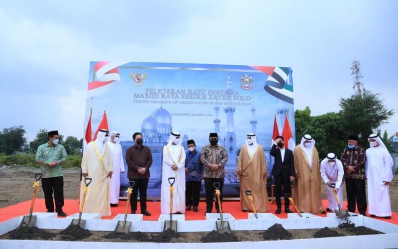 Seremoni peletakan batu pertama proyekMasjid Raya Sheikh Zayed Solo, Jawa Tengah, Sabtu (6/3/2021) - Dok./Kemenag