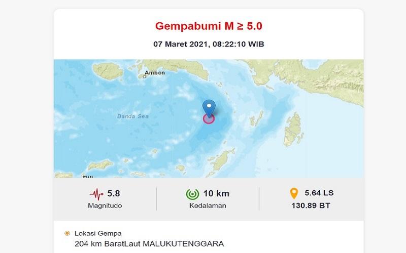 Tangkapan layar lokasi gempa di Barat Laut Maluku Tenggara. - BMKG
