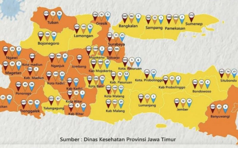 Peta situasi Covid-19 di Jatim berdasarkan zona. - Kominfo Jatim