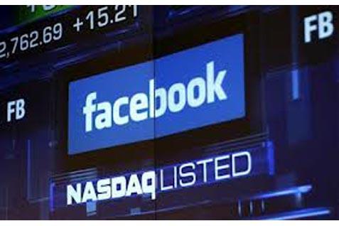 Logo Facebook di layar Nasdaq, AS -  Bisnis