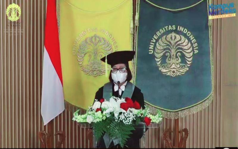 Rofikoh Rokhim, dalam pidato pengukuhan sebagai Guru Besar FEB Universitas Indonesia, menyoroti pentingnya kolaborasi lembaga keuangan untuk peningkatan skala bisnis UMKM dan ultra mikro.  - Istimewa