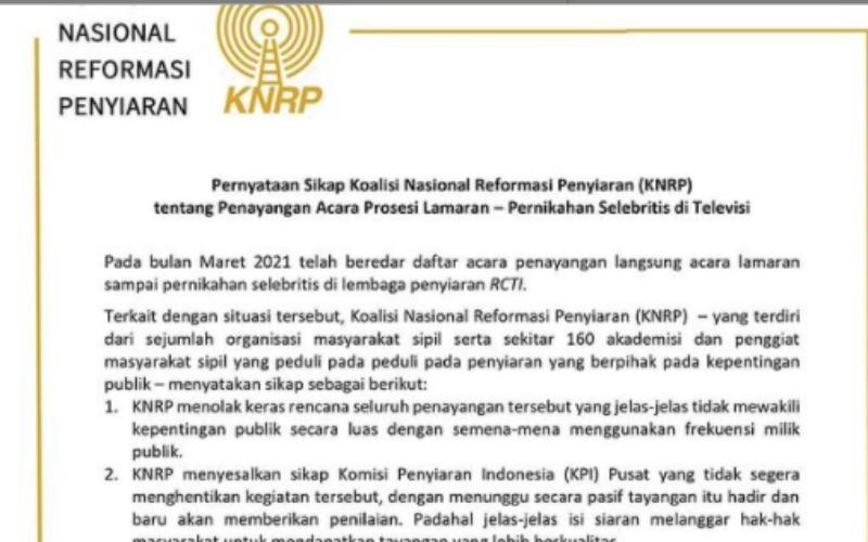 Tangkapan layar pernyataan sikap Koalisi Nasional Reformasi Penyiaran (KNRP) atas penayangan prosesi lamaran selebritas di televisi, Sabtu (13/3/2021) - Instagram/@remotivi.or.id