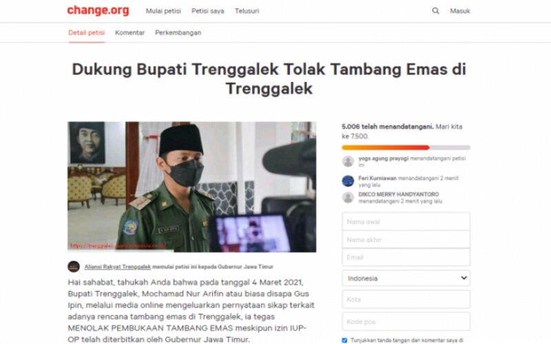 Foto tangkap layar gerakan petisi di laman daring change.org. - Antara/Destyan Sujarwoko