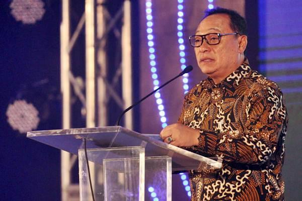 Direktur Utama PT Bank Tabungan Negara (Persero) Tbk Maryono menyampaikan sambutan saat peluncuran logo HUT ke-69 Bank BTN, di Jakarta, Jumat (4/1/2019). - Bisnis/Dedi Gunawan