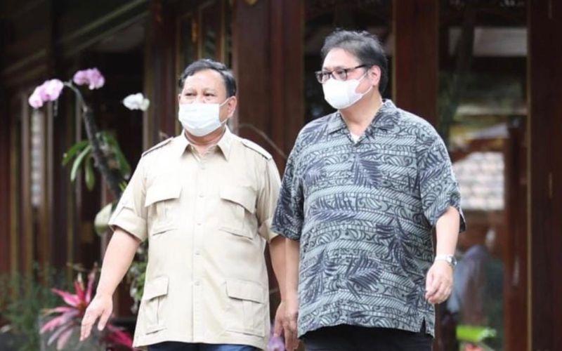 Ketua Umum Partai GolkarAirlanggaHartarto bertemu Ketua Umum Partai Gerindra Prabowo Subianto di Hambalang, Bogor, Jawa Barat pada Sabtu (13/3 - 2021) / Instagram