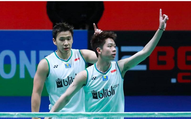 Ganda putra Indonesia Kevin Sanjaya-Marcus Fernaldi Gideon yang turut dipaksa mundur dari All England 2021 - Badminton Indonesia