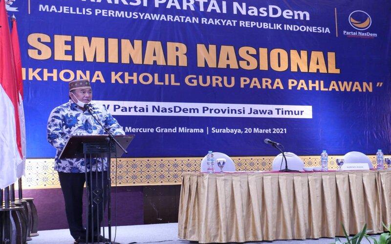 Wakil Ketua DPR RI Rachmat Gobel  dalam Seminar Nasional yang bertema Syaikhona Kholil Guru Para Pahlawan. - Ist