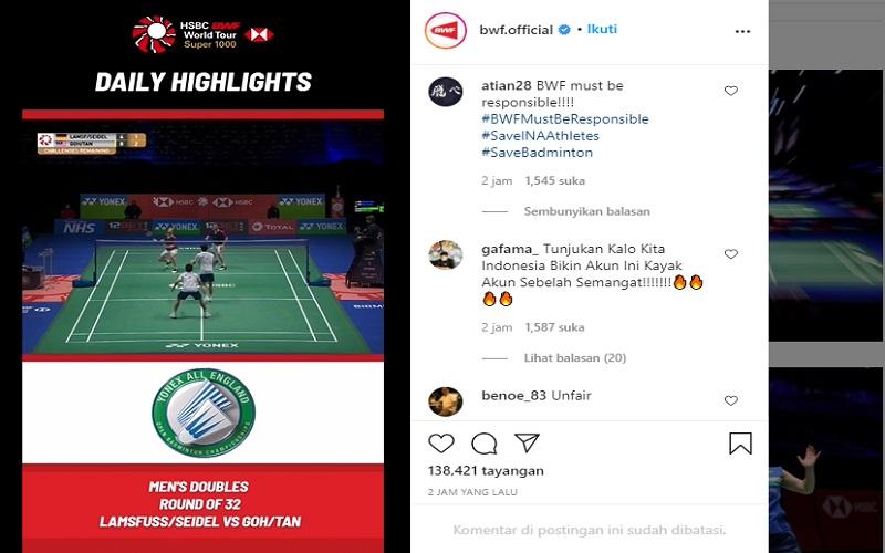 Akun Instagram BWF (bwf.official) diserbu warganet atau netizen asal Indonesia. Hal itu terjadi setelah Tim Bulu Tangkis Indonesia dipaksa mundur dari gelaran All England 2021  -  IG @bwf.official