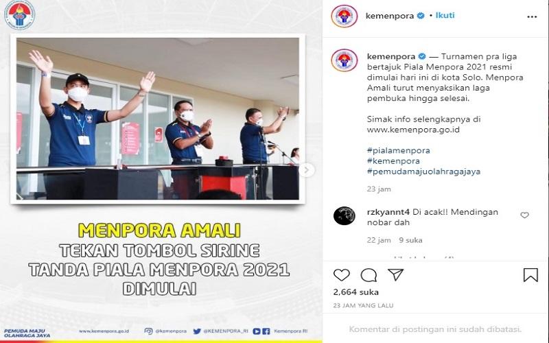 Turnamen Pra Liga bertajuk Piala Menpora 2021 resmi digelar, Senin (22/3/2021).  -  IG Kemenpora