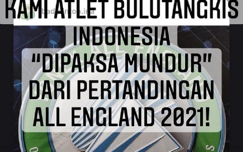 Unggahan pemain bulu tangkis putri Timnas Indonesia Greysia Polii atas mundurnya Timnas Indonesia dari All England 2021. - Instagram @greyspolii