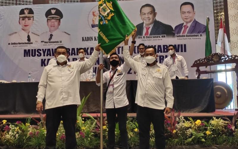 Fadludin Damanhuri terpilih sebagai Ketua Kadin Karawang periode 2021-2026. - Bisnis/Asep Mulyana