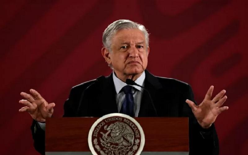 Presiden Meksiko Andres Manuel Lopez Obrador berbicara pada konferensi pers, di National Palace di Kota Meksiko, Meksiko, Selasa (21/5/2019). - Antara/Reuters
