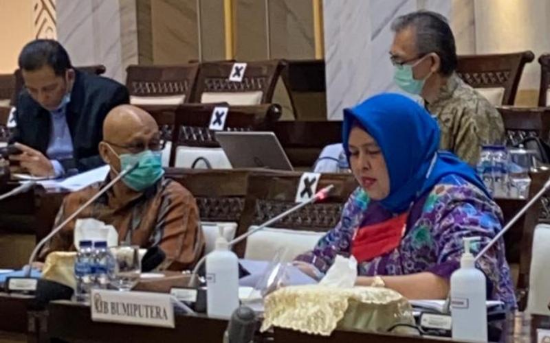 Ketua Badan Perwakilan Anggota (BPA) AJB Bumiputera 1912 Nurhasanah memberikan paparan dalam rapat sejumlah lembaga jasa keuangan bersama Komisi XI DPR, Rabu (16/9/2020) - Istimewa
