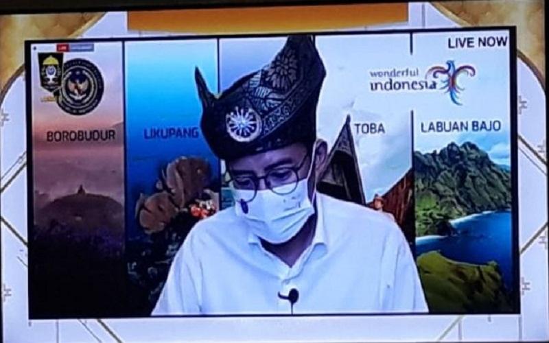Menteri Pariwisata dan Ekonomi Kreatif (Menparekraf) RI, Sandiaga Uno. Sandiaga berkomitmen untuk membangun dunia pariwisata dan ekonomi kreatif (Parekraf) yang ada di Provinsi Riau, salah satunya pantai Rupat di Kabupaten Bengkalis.  -  Istimewa