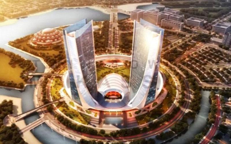 Maket menara kembar yang sempat akan dibangun di Makassar. - Antara