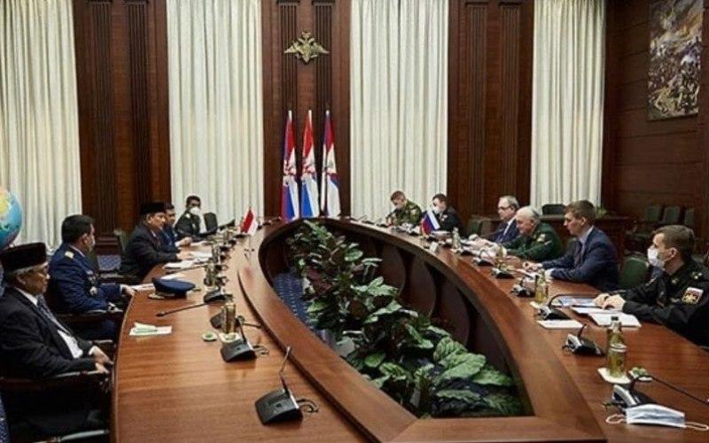 Menhan RI Prabowo Subianto saat bertemu dengan Deputi Menhan Federasi Rusia Kolonel Jenderal Andrei Kartapolov, di Kementerian Pertahanan Federasi Rusia, Moskow, Kamis (25-3-2021) - AntaraHO/Humas Setjen Kemhan