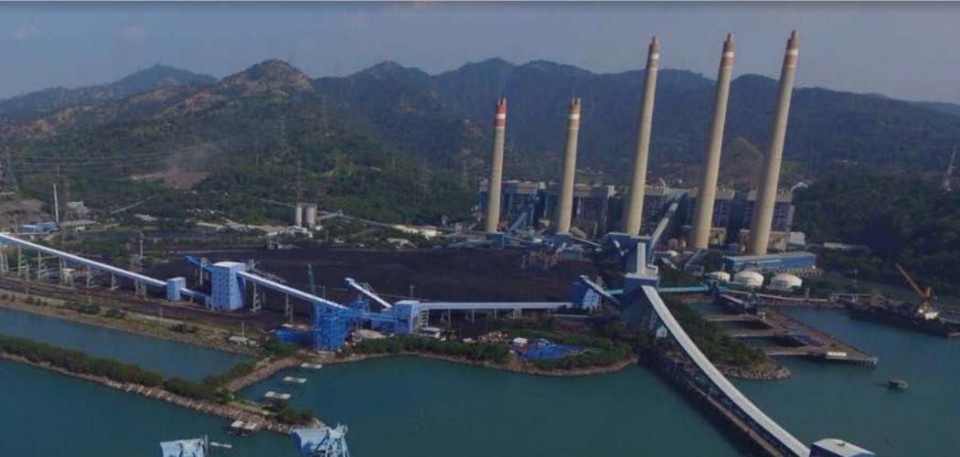 PLTU Suralaya, Banten. Pembangkit listrik tenaga uap ini dikelola oleh PT Indo Raya Tenaga, perusahaan patungan antara PT Barito Pacific Tbk. dan PT Indonesia Power. - barito/pacific.com