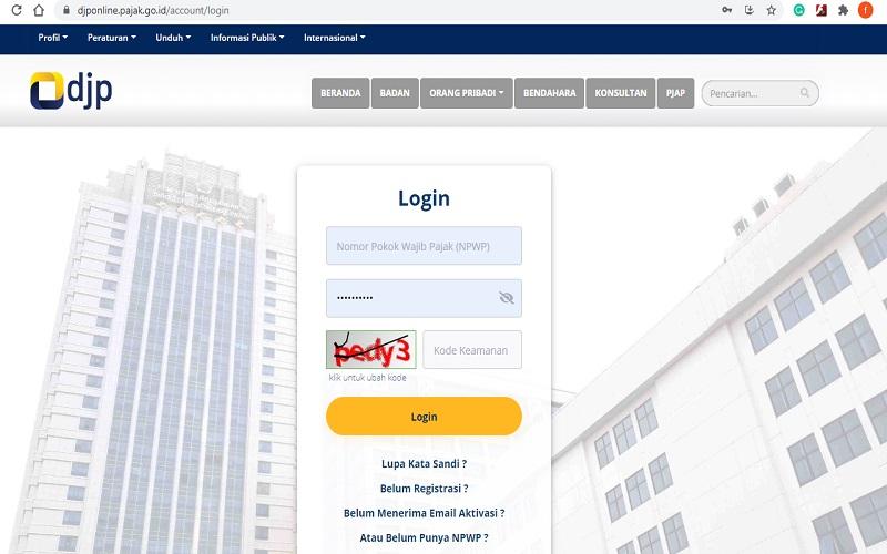 Tampilan laman https://djponline.pajak.go.id/ yang bisa diakses Wajib Pajak untuk melaporkan SPT Tahunan  -  tangkapan layar www.pajak.go.id