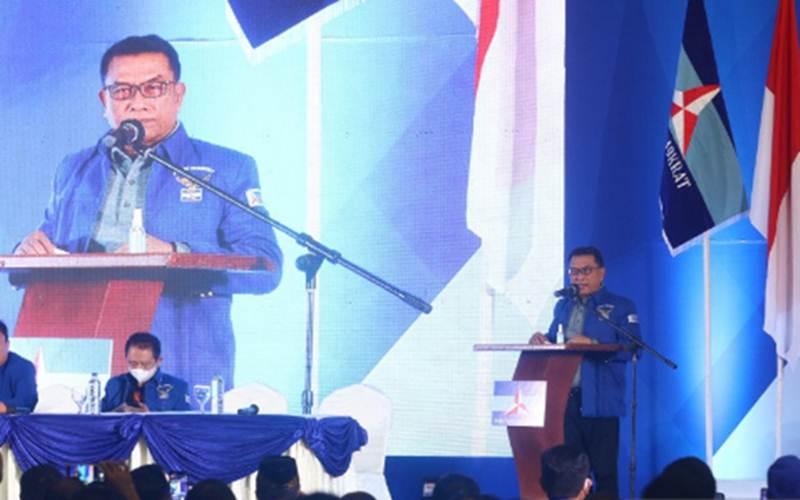 Moeldoko menyampaikan pidato perdana saat Kongres Luar Biasa (KLB) Partai Demokrat di The Hill Hotel Sibolangit, Deli Serdang, Sumatra Utara, Jumat (5/3/2021). - Antara/Endi Ahmad