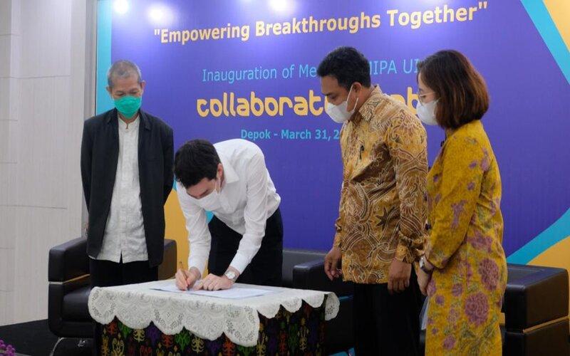 penandatanganan Induk Perjanjian Kerja Sama antara Merck dengan Universitas Indonesia, Rabu (31/3/2021) - Istimewa