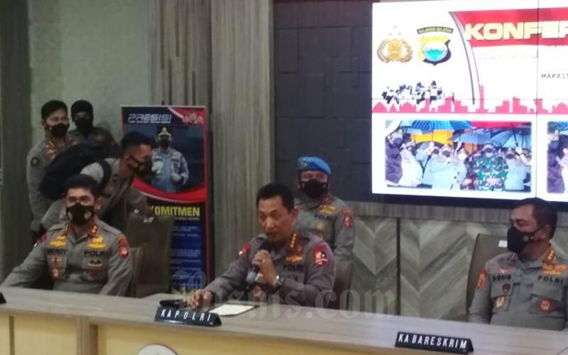 Kapolri Jenderal Listyo Sigit saat jumpa pers di Kantor Polda Sulsel, Jl Perintis Kemerdekaan, Makassar, Senin (29/3/2021). - Bisnis/Wahyu Susanto