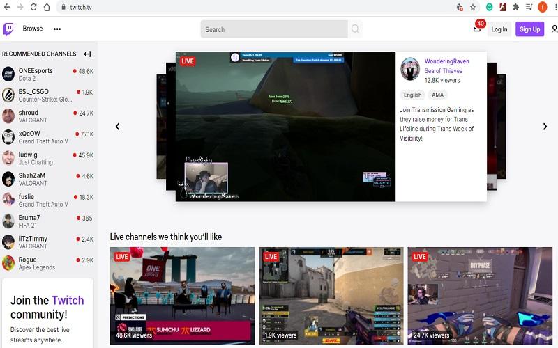 Tampilan aplikasi streaming twitch.tv  -  Twitch.tv