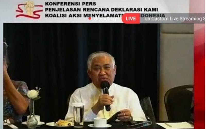 Din Syamsuddin, inisiator Koalisi Aksi Menyelamatkan Indonesia (KAMI) saat konferensi pers secara daring, Sabtu (15/8/2020). - Antara/HO/Tangkapan layar Zoom