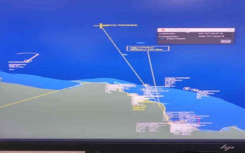 Lokasi kecelakaan laut antara Kapal Nelayan Barokah Jaya dengan Kapal Habco pioneer. - Antara/SAR Bandung.