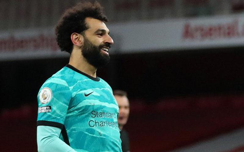 Striker Liverpool Mohamed Salah selepas menjebol gawang Arsenal. - Twitter@LFC