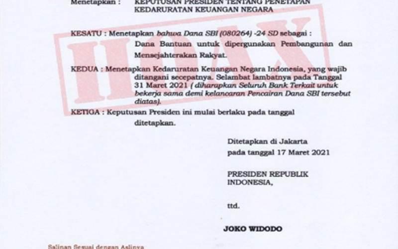 Keppres palsu, menggunakan nama Presiden Joko Widodo. Pemerintah membantah telah menerbitkan Keppres tentang Kedaruratan Keuangan Negara. - Antara/Kemensesneg
