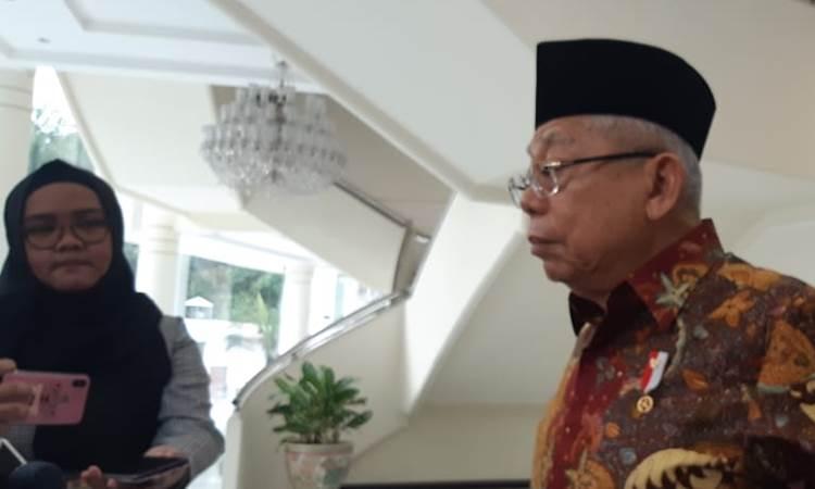 Wakil Presiden Ma'ruf Amin saat memberi keterangan kepada wartawan, Rabu (4/3/2020). - Bisnis/Nindya Aldila