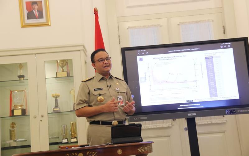 Gubernur DKI Jakarta Anies Baswedan memaparkan evaluasi PSBB tahap III di DKI Jakarta, Kamis (4/6/2020). - Dok.PPID