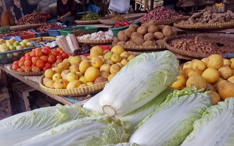 Komoditas sayuran di Pasar Panjang Kabupaten Subang - Bisnis/Asep Mulyana