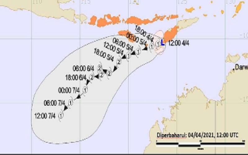 Bibit Siklon Tropis apda 4 hingga 7 April 2021. - Dok.BMKG