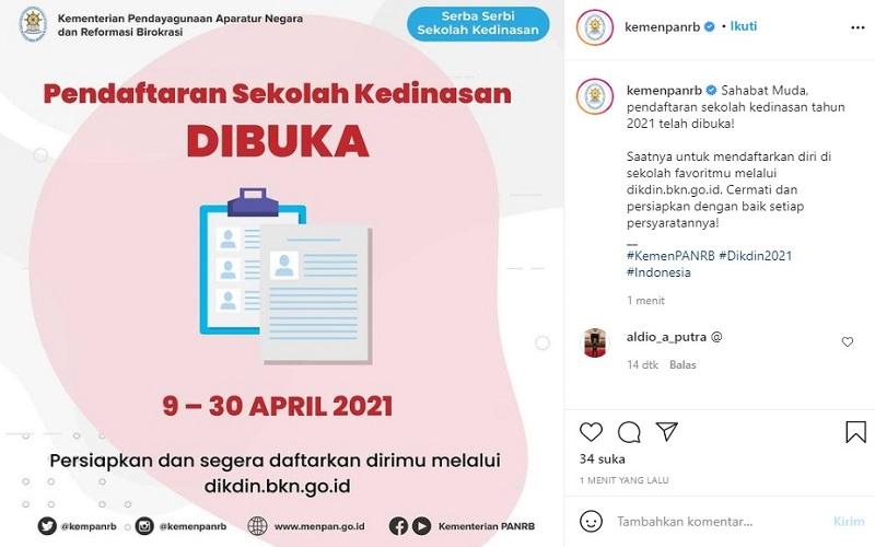 Kementerian PAN RB membuka pendaftaran sekolah kedinasan 2021. Segera login ke situs dikdin.bkn.go.id  -  Instagram @kemenpanrb