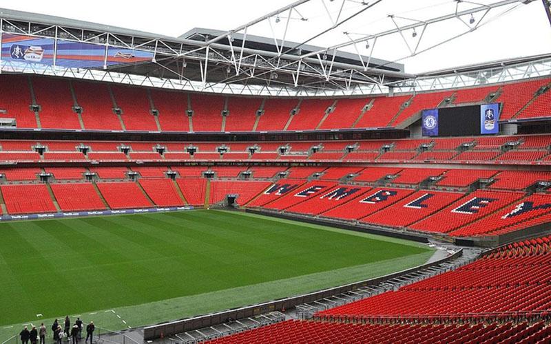 Stadion Wembley di London, Inggris, dalam file foto 2014. Stadion Wembley akan menggelar final Euro 2020. - Reuters