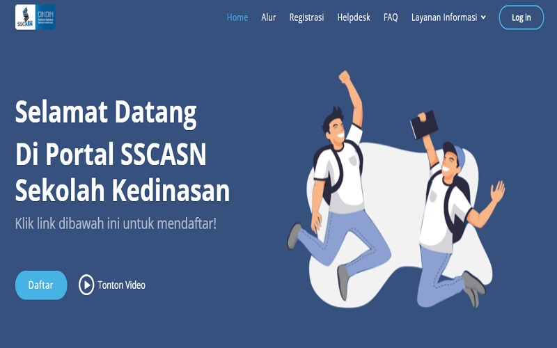 Tamplan portal pendaftaran sekolah kedinasan 2021 di situs dikdin.bkn.go.id