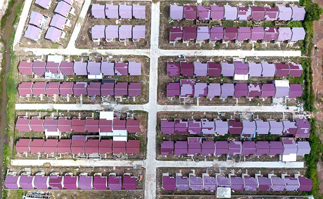 Foto aerial kompleks perumahan bersubsidi di Palembang, Sumatra Selatan./Antara - Nova Wahyudi