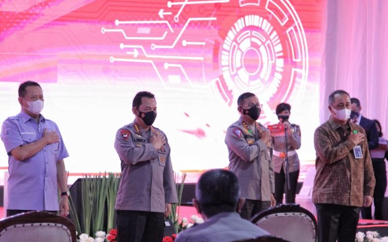 Peluncuran SINAR di kantor Satpas Daan Mogot dan dihadiri oleh Kapolri Jenderal Pol Listyo Sigit Prabowo, Kakorlantas Polri Irjen Pol Istiono, dan Direktur Utama BNI Royke Tumilaar - Istimewa
