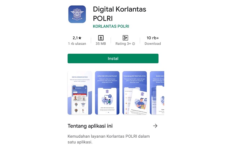 Tampilan aplikasi layanan SIM Online Digital Korlantas Polri  -  Google Play Store