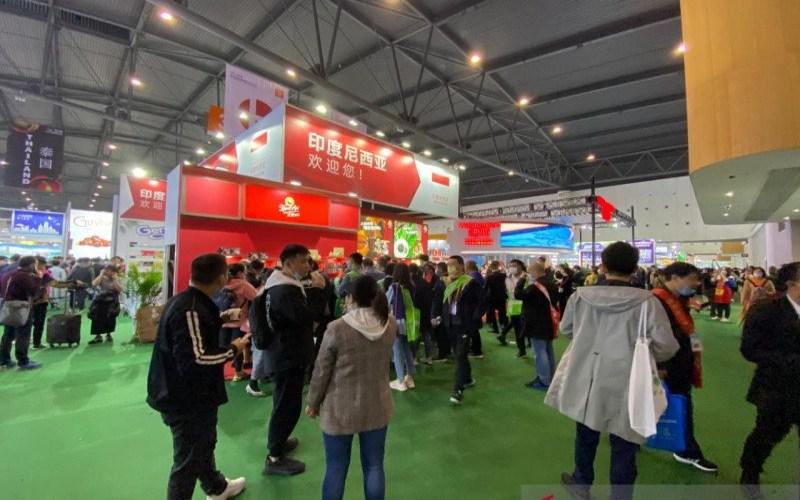 Anjungan Indonesia di Pameran Dagang Makanan dan Minuman China (CFDF) di Chengdu, Provinsi Sichuan, pada 7-9 April 2021. - ANTARA/KBRI Beijing