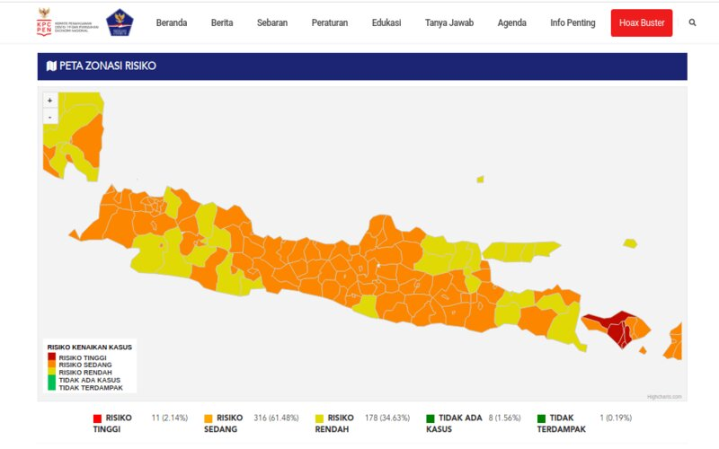 Peta zonasi resiko penyebaran Covid-19 per 11 April 2021  -  Istimewa / Satgas Penanganan Covid/19